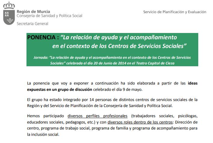 La relación de ayuda y el acompañamiento en el contexto de los Centros de Servicios Sociales